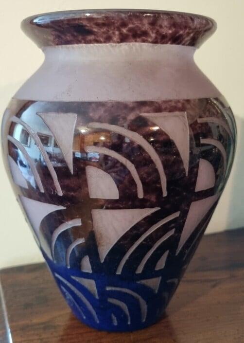 Deguè Vaso in vetro policromo con tonalità blu